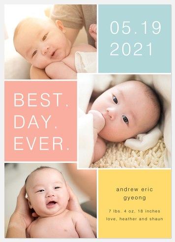 Best Day Baby Birth Announcements