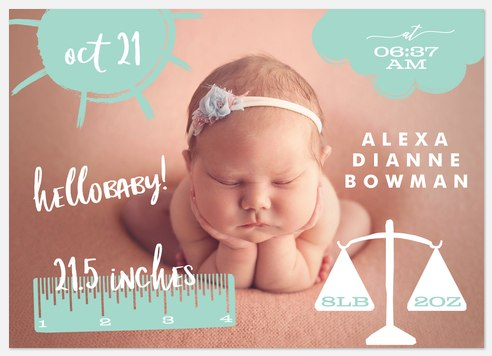 All the Details Baby Birth Announcements