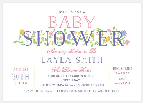 Floral Letters Baby Shower Invitations