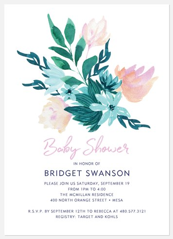 Bouquet Topper Baby Shower Invitations