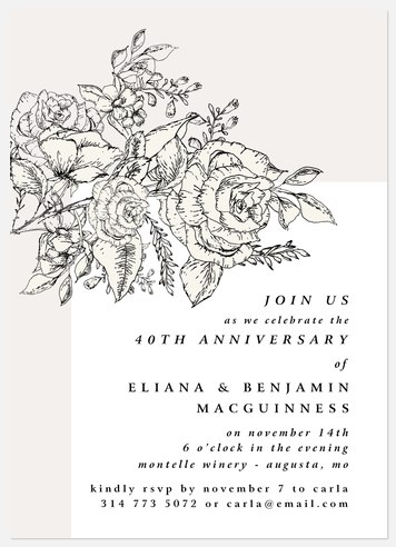 Sketched Floral Anniversary Invitations