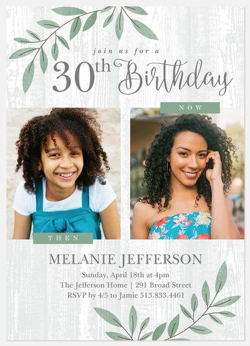 Then & Now Adult Birthday Invitations
