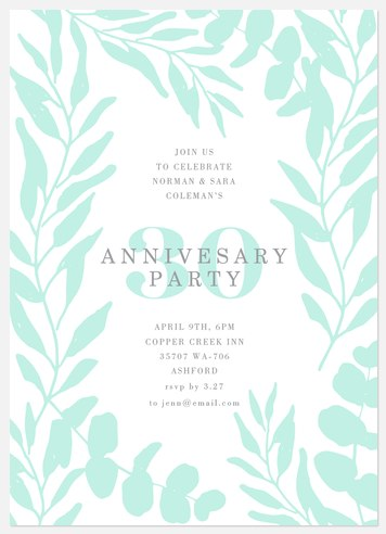 Fresh Mint Anniversary Invitations