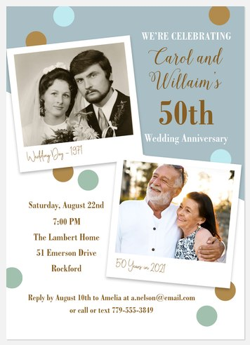 Vintage Photos Anniversary Invitations