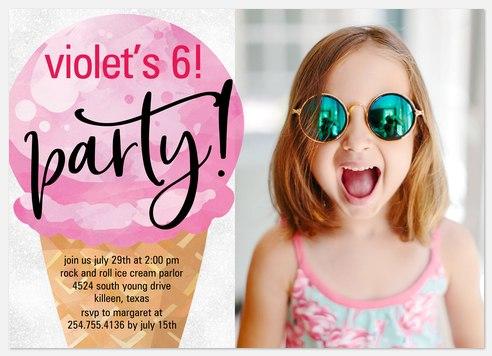 Icecream Cone Kids' Birthday Invitations