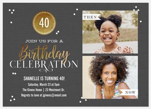Birthday Badge Adult Birthday Invitations