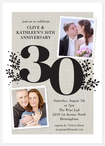Bold Laurels Anniversary Invitations