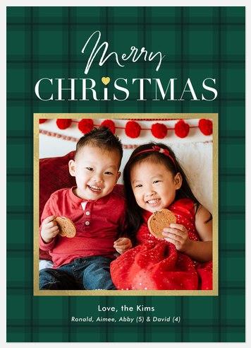 Pine Tartan Holiday Photo Cards