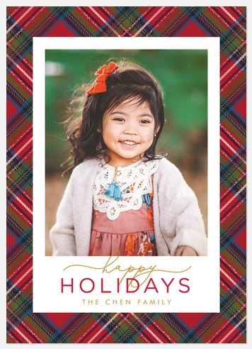 Winter Tartan Holiday Photo Cards
