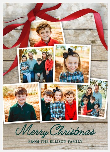 Holiday Bow Collage Holiday Photo Cards