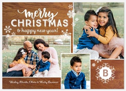 Gingerbread Snowfall Holiday Photo Cards