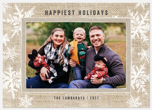 Burlap & Velvet Holiday Photo Cards