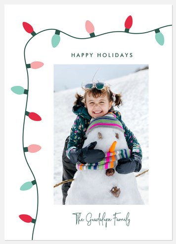 String Of Lights Holiday Photo Cards