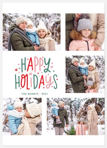 Festive Coloration Holiday Photo Cards