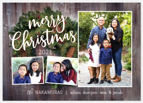 Rustic Wreath Holiday Photo Cards