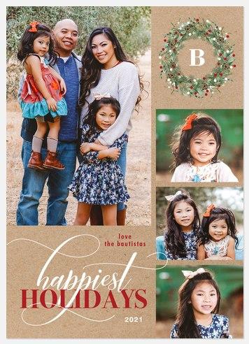 Kraft Wreath Holiday Photo Cards