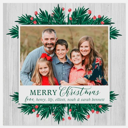 Evergreen Trimmings Holiday Photo Cards