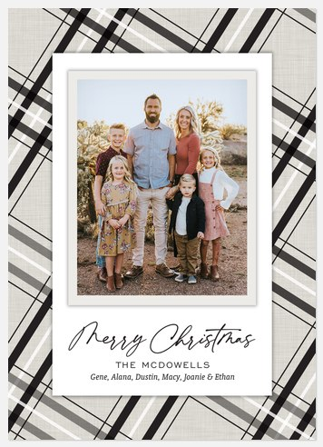 Linen Plaid Holiday Photo Cards