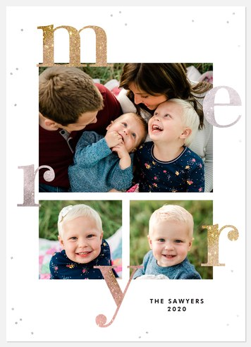 Shimmering Merry Holiday Photo Cards