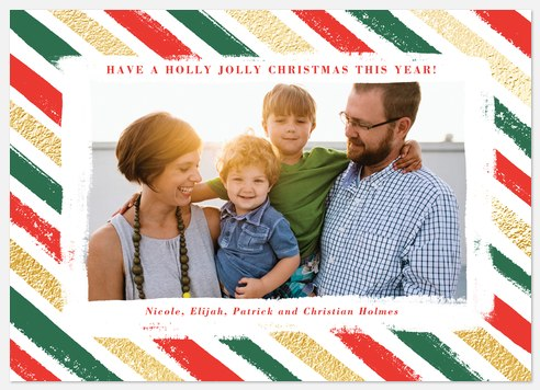 Elf Stripes Holiday Photo Cards