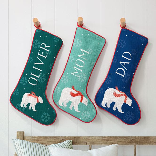 Polar Bear Family Personalized Stockings