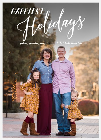 Cheerful Postcard Holiday Photo Cards