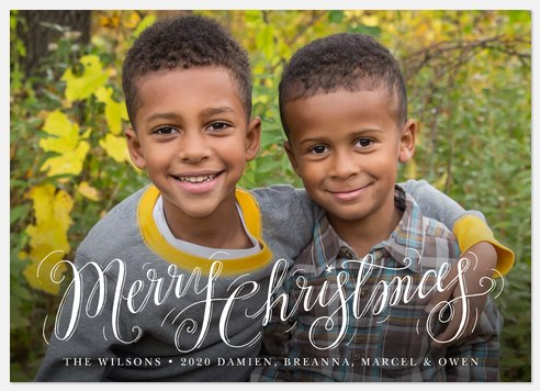 Curled Christmas Holiday Photo Cards