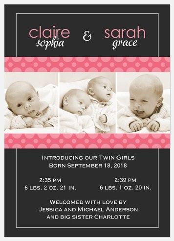 Polka Pink Twin Birth Announcements
