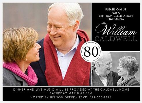 80th Birthday Invitations Adult