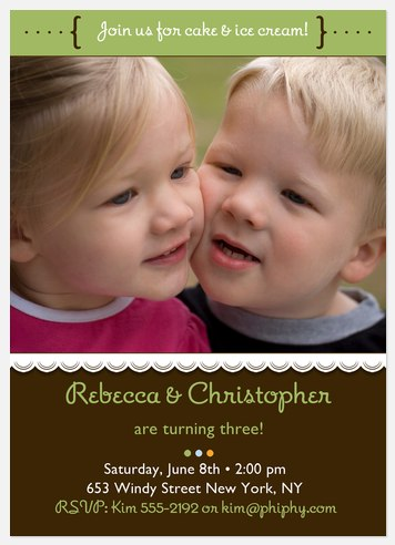 Cutie Birthday Invites for Twins