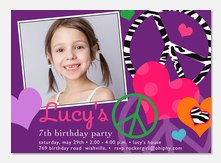 Zebra Peace - Photo Birthday Invitations