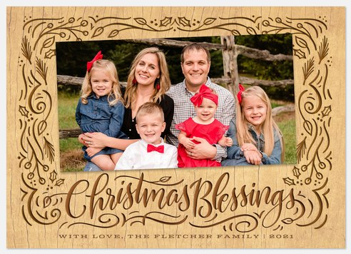 Etched Frame Holiday Photo Cards