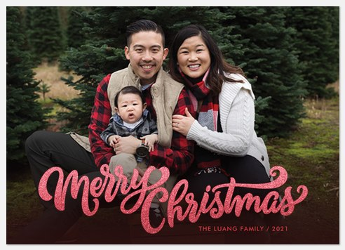 Cranberry Glitter Holiday Photo Cards