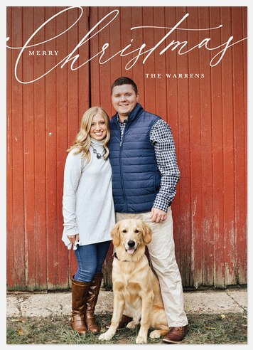 Simple Calligraphy Holiday Photo Cards