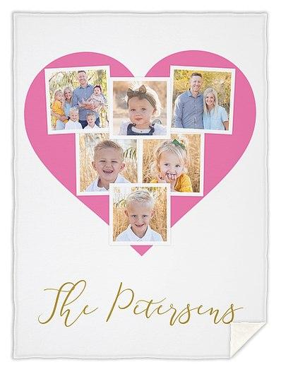 Heart Snapshots Custom Blankets