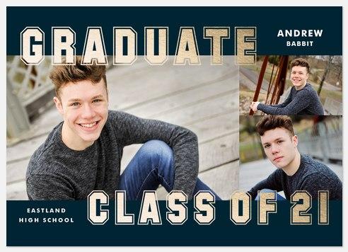 Golden Collegiate Graduation Cards