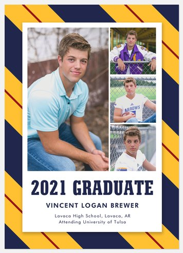 Varsity Stripes Graduation Cards