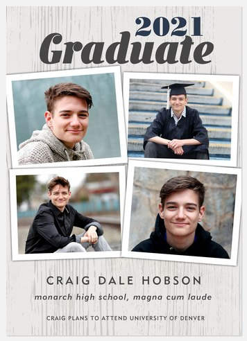 Woodgrain Collage Graduation Cards
