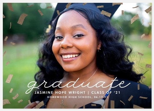 Golden Confetti Graduation Cards