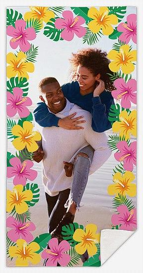 Hibiscus Border Custom Beach Towels