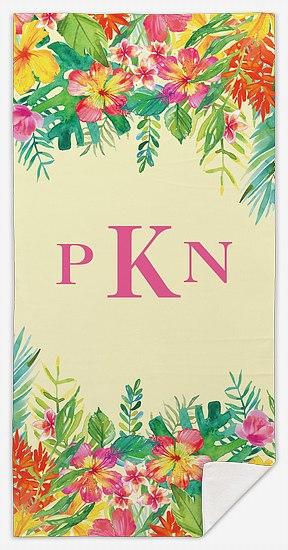 Tropical Monogram Custom Beach Towels