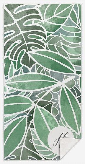 Botanical Leaves Custom Beach Towels
