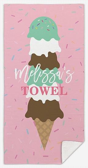 Ice Cream Sprinkles Custom Beach Towels