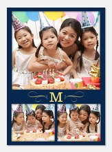 Triple Shot Initial - Personalized Photo Cards