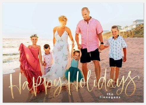 Cheerful Script Holiday Photo Cards