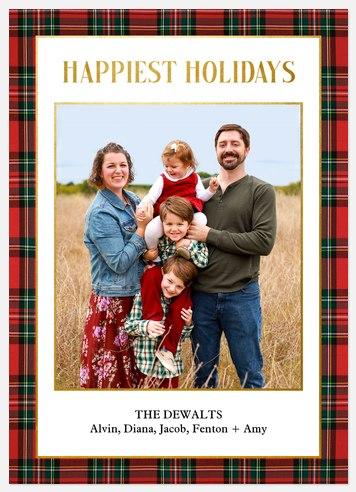 Plaid Portrait Holiday Photo Cards