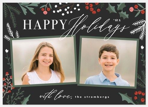 Botanical Duo Holiday Photo Cards