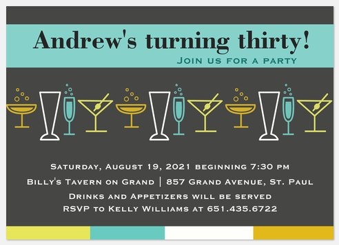 Bar Hop Adult Birthday Invitations