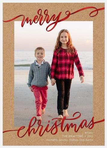 Ribbon Script Holiday Photo Cards