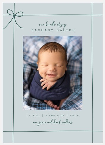 Gift Wrapped Blue Holiday Photo Cards
